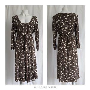 Boden ▪ Brown Circle Tie Waist Jersey Dress